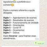 Agendar exame ou consulta via whatsapp (chatbot)